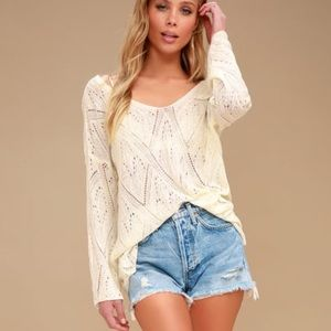 Sheer ivory bell sleeve sweater